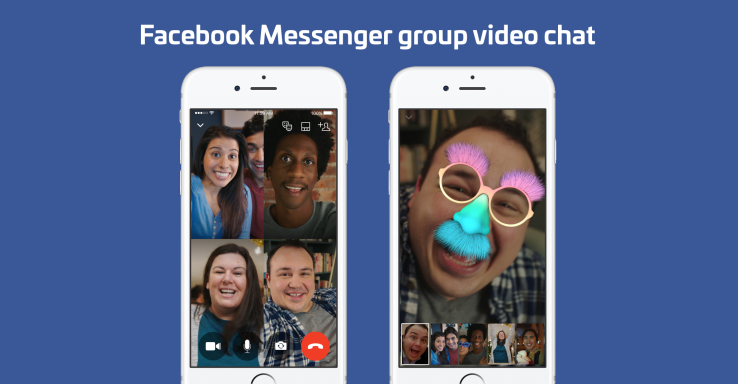 Facebook Messenger launches 6-screen group video chat with selfie masks.